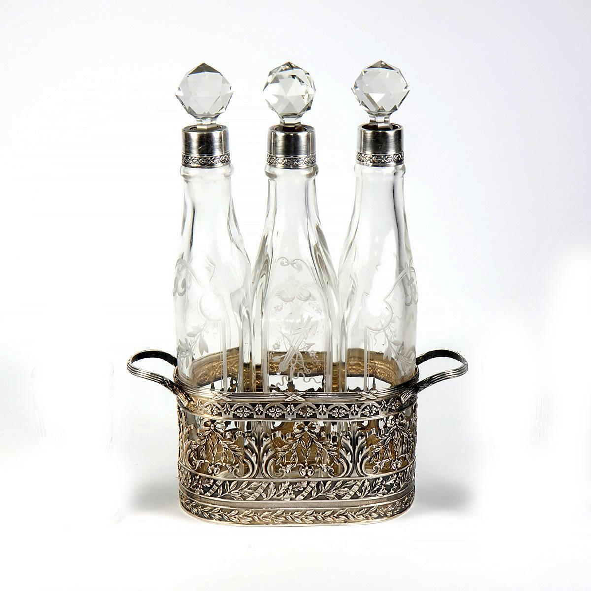 RARE Antique French Sterling Silver & 18k Gold Vermeil Decanter Liqueur Set, Caddy of 3 Carafe