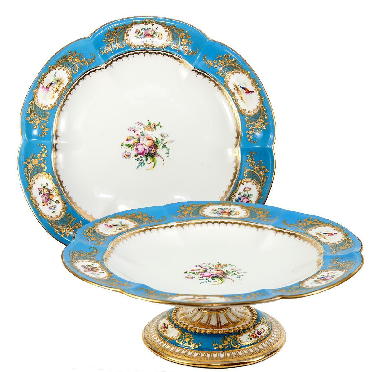 RARE Antique French Serving Tazza, Tray, Old Paris Porcelain, Raised Gold Enamel + Ornithological with Flowers