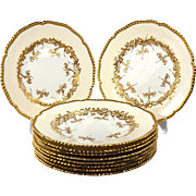 Fine c.1881-1920 Set: Coalport Raised Gold Enamel Plates, 10, Excellent