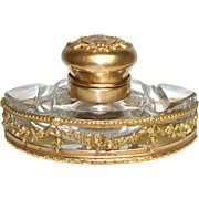 "Antique Napoleon III French Empire Style 4.5"" Inkwell, Cut Crystal & Gilt Bronze Casing & Top"