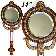 "Lovely Antique French Empire Revival Style 14.25"" Hand or Vanity Mirror, Dore Bronze on Mahoghany"