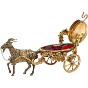 "Antique French Goat Cart, Cranberry Glass ""Egg"" is a Pocket Watch Stand, Jewelry Notion - Palais Royal"