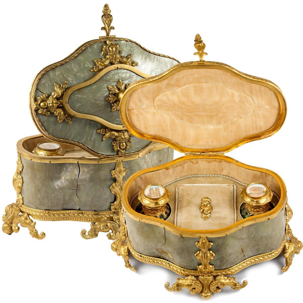 Antique French Eglomise Scent Bottles in Necessaire, Casket of Ormolu & Faux MOP, Green Opaline