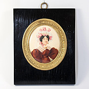 Superb c.1810 English Portrait Miniature in Dore Bronze Frame, Gouache on Card