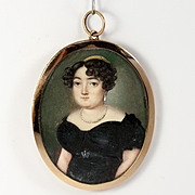 Rare Fine French Empire Portrait Miniature, 15k Gold Frame, Pearl Tiara, Diadem