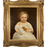 Antique French Oil Painting on Stretched Linen Canvas, In Frame, Boy, Child c. 1830s