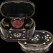 "Antique Victorian English Papier Mache Double Well Tea Caddy, EXCEPTIONAL! Large 14"", Tea Poy"