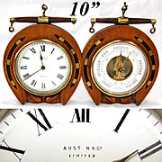 Antique Victorian to Edwardian Era Desk Clock & Barometer, Horseshoe Shape Oak Case: Austin & Co., Dublin