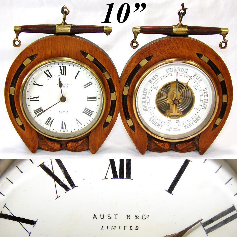 Antique Victorian to Edwardian Era Desk Clock & Barometer, Horseshoe Shape Oak Case: Austin & Co., Dublin