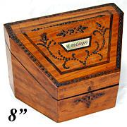 """Antique Georgian Era """"Envelopes"""" Stationery Casket, Box with Cut Steel Pique & Unique Shape"""