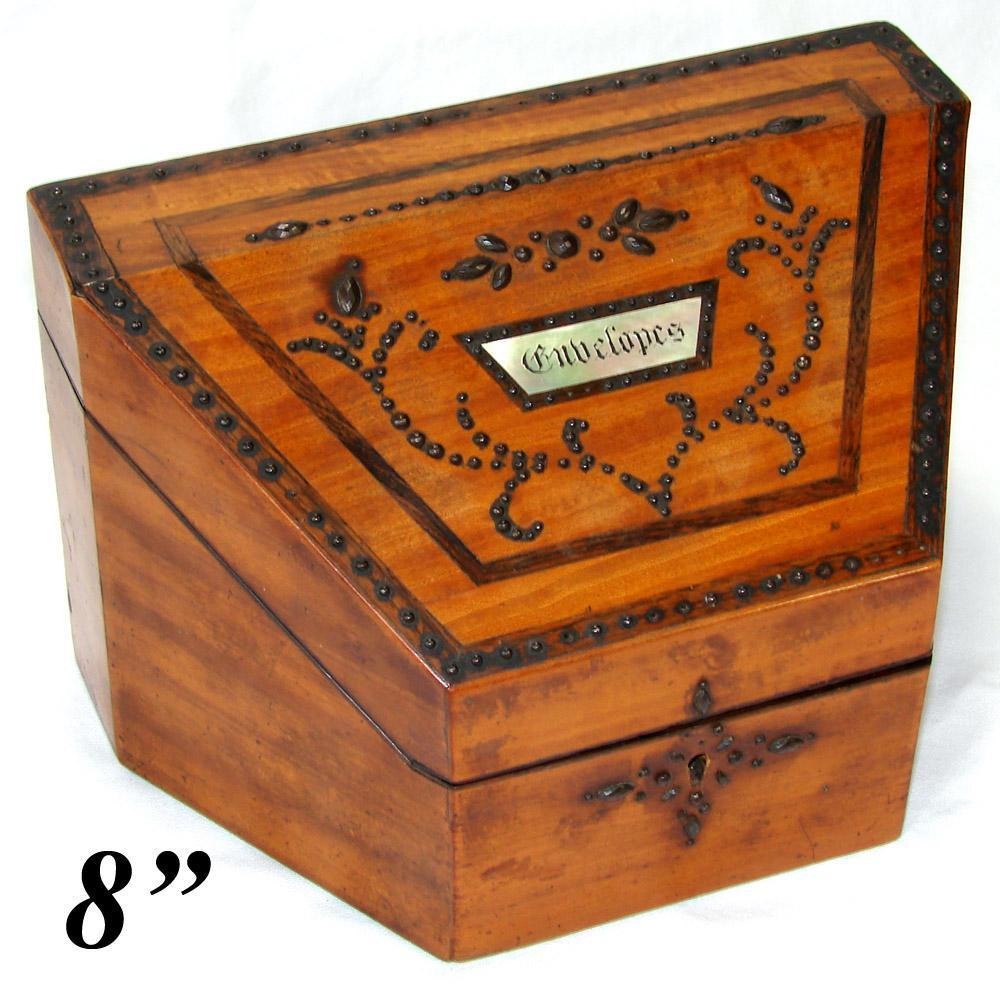 "Antique Georgian Era ""Envelopes"" Stationery Casket, Box with Cut Steel Pique & Unique Shape"