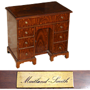 "Rare Vintage Maitland Smith 16.5"" Miniature Desk Shaped Jewelry Chest, Mahogany Veneer, George I Kneehole Style"