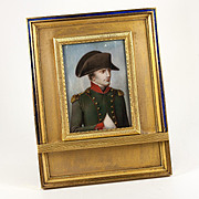 Rare Antique French Portrait Miniature of Napoleon I, Gilt Dore Bronze & Enamel Frame