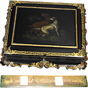 Rare Antique Victorian Era English Papier Mache Man's Jewelry Chest, Hunting Dogs Painting