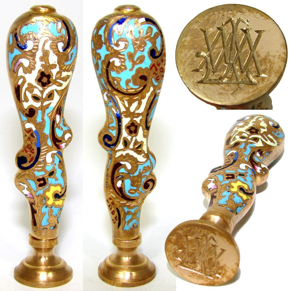 Fine Antique Napoleon III Era Bronze & Champleve Enamel Writer's Wax Seal or Sceau