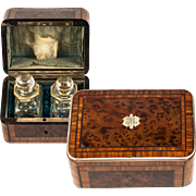 SALE Antique French Marquetry Scent Caddy, Box, 2 Fine Baccarat Perfume Bottles, c.1860