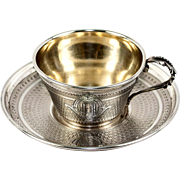 Antique French Sterling Silver Demitasse Coffee or Tea Cup, Saucer. 18k Vermeil Interior
