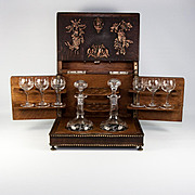 Antique French Made Fruits of the Hunt Theme Liqueur Tantalus, Complete. Cigar Chest, Black Forest Look