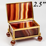 Antique 1780 to 1820 French Banded Agate Specimen Box, More Bronze, 2.5""