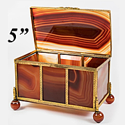 """5"""" Antique French (Georgian - Victorian) Banded Agate Jewelry Casket, Box, Exceptionally Fine Specimen"""