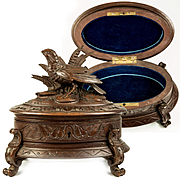Fine Antique Black Forest Carved Wood Jewelry Box, Casket with Game Hen, c.1880s Hunt Theme, Animalier