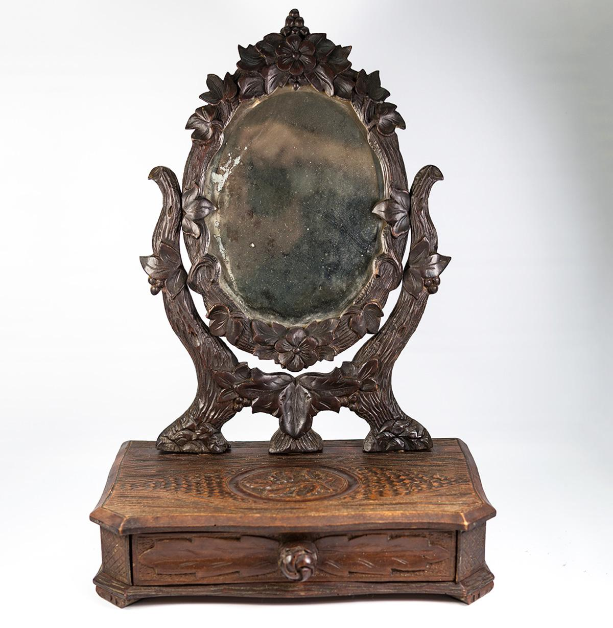 Antique Hc Black Forest 17 5 Quot Tall Vanity Stand Mirror
