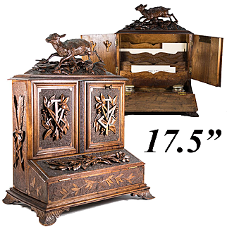 """RARE Antique Hand Carved Black Forest Box, 17.5"""" Tall Writer's Chest, Cabinet, Hunt Theme"""