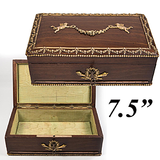Charming Antique French Stationery or Jewelry Box, Empire Casket w Appliques, Lock, Key