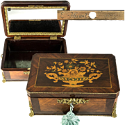 "Stunning 12.5"" Antique French Jewelry Chest, E. Wissert, 1853 Engraved Lock, with Key"