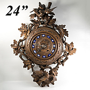 """Spectacular Antique 24"""" French Black Forest Carved Wall Clock, Enamel Indices, Runs EC"""