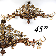 "Elegant Cornice Antique French Carved Wood and Tole Candle Sconce, 45"" Long, 3 Branch Candelabra"