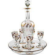 Antique French Liqueur Service, 19th c. St. Louis - 1 Decanter, 6 Cordial Stems, Tray, Raised Gold Enamel