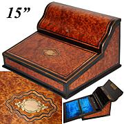 "Antique Napoleon III Era Marquetry Inlay 15"" Ecritoire, Writer's Box, Burled Veneers, Stationery Compartment, Lock & Key"