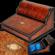 "Antique Napoleon III Era Marquetry Inlay 13"" Ecritoire, Writer's Box, Burled Veneers, Stationery Compartment, Lock & Key"