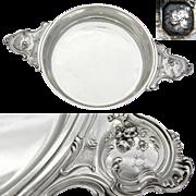 "Elegant Antique French Sterling Silver 11.75"" Wide 'Ecuelle', Serving Dish or Legumier"