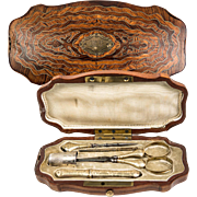 Antique French Napoleon III Marquetry Sewing Box, Vermeil Sterling Silver Tools, Scissors, Thimble etc.