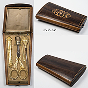 Antique French Sewing Set, Marquetry Etui, Sterling Silver Vermeil (18k Layer), Complete c.1870s Napoleon III
