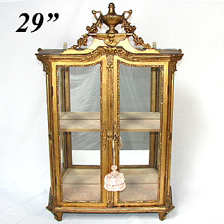 "RARE Antique Louis XVI or Marie-Antoinette to Napoleon I Era Gilt Wood 29"" Table or Wall Vitrine, c. 1700s-1810"