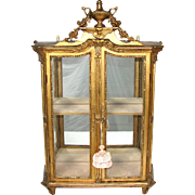 "RARE Antique Louis XVI or Marie-Antoinette to Napoleon I Era Gilt Wood 29"" Table or Wall Vitrine, c. 1700s-1810"