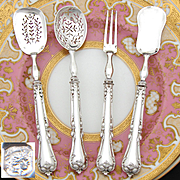 Elegant Antique French Sterling Silver 4pc Hors d'Oeuvre Implement Set, Acanthus Foliate Pattern