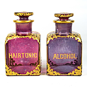 """Fine Antique Pair of Barber's Bottles, Raised Gold """"Alcohol"""" and """"Hair Tonic"""", Barbershop, Razor Related"""
