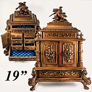 "Superb 19"" Antique Black Forest Jewelry Chest, Cabinet, Box, Neo-Gothic Chimera, Birds"