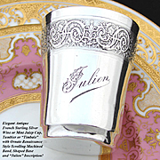 "Antique French Sterling Silver Wine or Mint Julep Cup, ""Timbale"" with Guilloche Decoration & ""Julien"" Inscription"