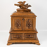 Antique Black Forest Hand Carved Jewelry Chest, Box, Compartment & Drawer, Lock & Key, Birds up Top
