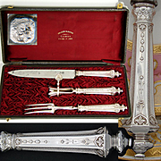 Antique French Sterling Silver 3pc Serving Implement Set: Meat Carving Service, Ornate Rounded Handles
