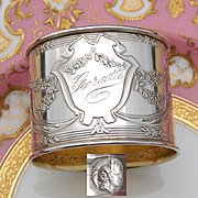 """Antique French Sterling Silver Napkin Ring, Ornate Classical Style with """"Georgette"""" Inscription"""