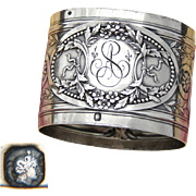 """Elegant Antique French Sterling Silver Napkin Ring: Ornate Bow, Ribbon, Floral & Acanthus: """"AS"""" Monogram"""