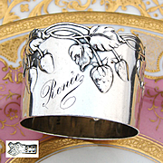 "Antique Continental .800 (nearly sterling) Silver Napkin Ring, Unique Strawberry Design, ""Renee"" Inscription"