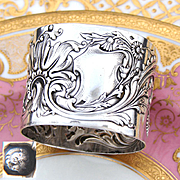 "Gorgeous Antique French Sterling Silver 2"" Napkin Ring, Ornate Raised Floral Decoration, No Monogram"