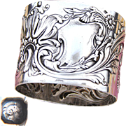 """Gorgeous Antique French Sterling Silver 2"""" Napkin Ring, Ornate Raised Floral Decoration, No Monogram"""